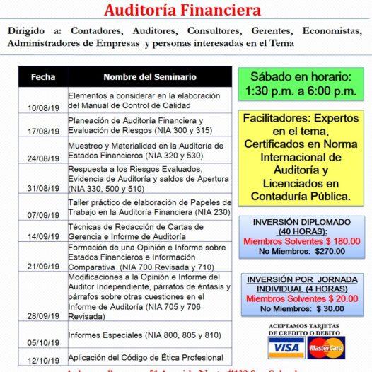 Diplomado de Educación Continuada en Auditoría Financiera.