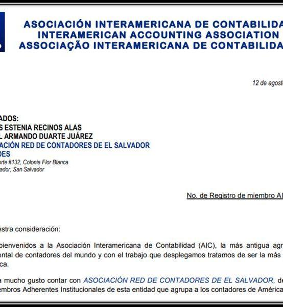 Incorporación de REDCOES a la Asociación Interamericana de Contabilidad (AIC)