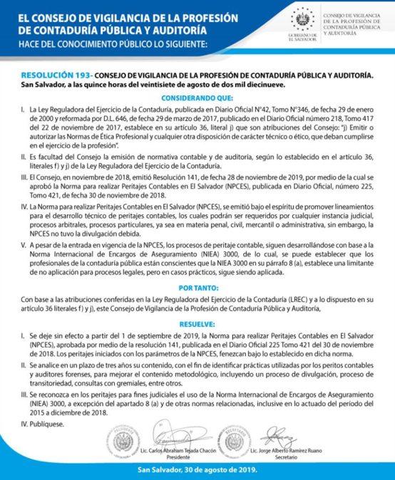 Resolución 193 del Consejo de Vigilancia de la Profesión de Contaduría Pública y Auditoría (CVPCPA)