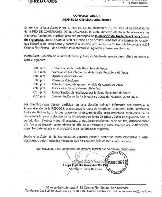 CONVOCATORIA A ASAMBLEA GENERAL ORDINARIA.