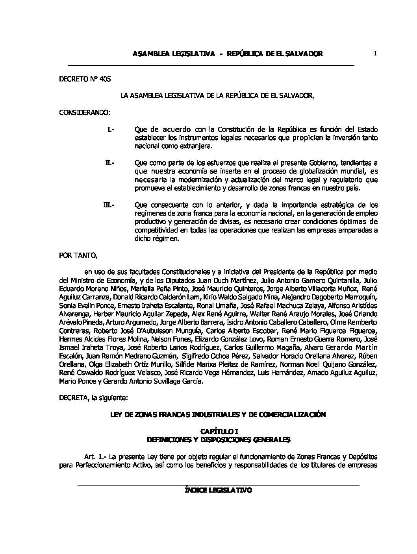 52 RLT Ley de Zonas Francas, Industriales y de Comercialización.