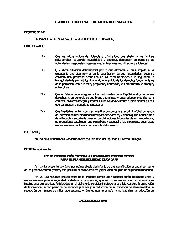 55 RLT Ley de Contribución Especial a los Grandes Contribuyentes para el Plan de Seguridad Ciudadana